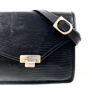 Vintage 1950's black lizard skin leather purse